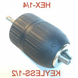 """1 pc keyless 1/16""""-1/2"""" Capacity with 1/4"""" Hex adapter Drill"""