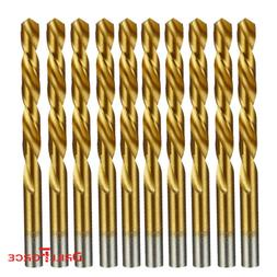 "DRILLFORCE 10Pcs Pack 1/4"" HSS Jobber Length Titanium Nitrid"