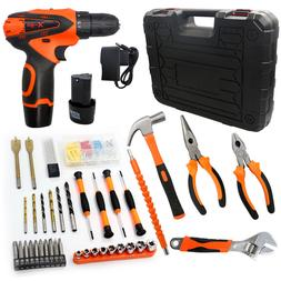 117pc Cordless Electric Drill 2-Speed Hammer Screwdriver Wre
