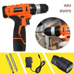 12V Cordless Drill Electric Screwdriver 2 Speed Power Tool +