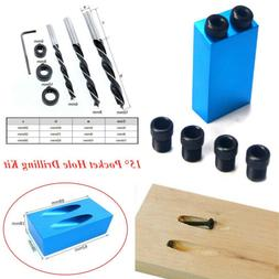 14Pcs/Set 15° Angle Pocket Hole Drilling Kit Woodworking Ob
