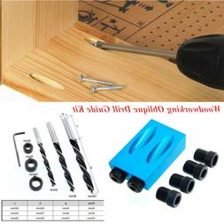 14PCS/Set 15 Degree Pocket Hole Drilling Kit Woodworking Obl
