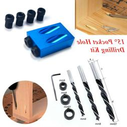 14PCS/Set 15° Pocket Hole Drilling Kit Woodworking Oblique
