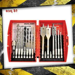 Toolman HSS Twist Drill Bits Spade Drill Bit Set 16pcs for S