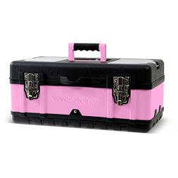"""Pink Power 18"""" Aluminum Tool Box w/ Extra Storage Compartm"""