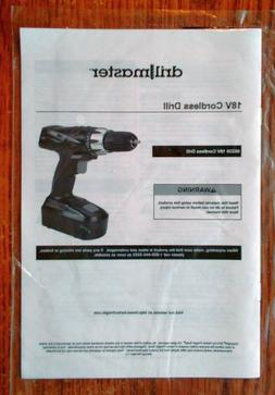 Drill Master 18 Volt Cordless Drill Instructions Owner's Man