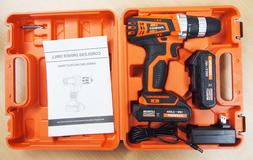 18V Cordless Drill Driver Kit Led with 2 Lithium Ion Batteri