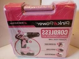 Pink Power 18V Cordless Drill Set Electric Driver Kit see de