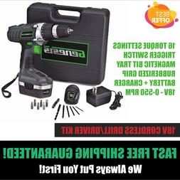 18V Cordless Electric Rechargeable Drill Driver Kit Set Port