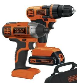 2 Tool Set Cordless Drill Impact Driver 20 Volt Lithium Ion