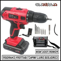 "20V 3/8"" LED Cordless Electric Power Drill Kit Household Dri"