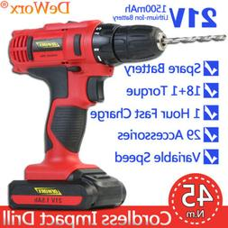 21V Lithium Ion Electric Cordless Drill Driver DIY Tool Twin