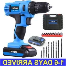 21V Power Cordless Drill Driver Electric Rechargeable Bits S