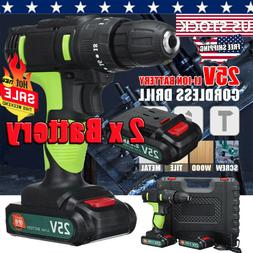 25V 3/8'' LED Cordless Electric Impact Drill Driver Hammer 2