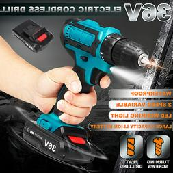 36V Li-Ion Battery Electric Cordless Drill Drive 2-Speed 18+