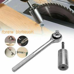 3Pcs Power Drill Adapter + Ratchet Wrench + Universal Socket