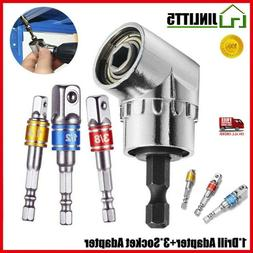4PC Right Angle Drill Adapter Connect Shank Impact Driver Ex