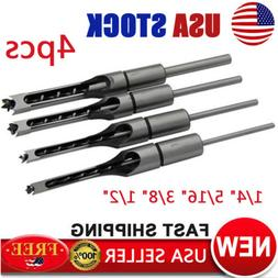 4x Square Hole Saw Auger Mortise Drill Bit Set Mortising Chi