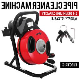 Sewer Snake Drill Drain Auger Cleaner 50'x1/2'' Electric Dra