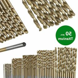 50Pcs Titanium Coated Drill Bits Set for Electrical Drill To