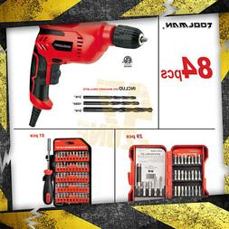 "84pc Toolman 3/8"" Electric Power Drill Driver + Drill Bit se"