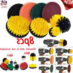 8X Drill Brush Scrub Pad Power Scrubber Cleaning Kit All Pur