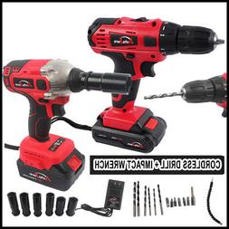 Cordless Drill 20V max + Impact Wrench Brushless 1/2'' Batte