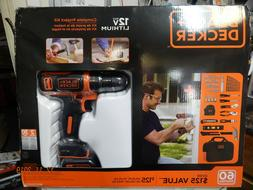 NEW SEALED BLACK & DECKER 12V Max Drill 56pc. Project Kit -