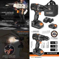 Brushless Cordless Drill 20V, 1 Hour Fast Charge, 50Nml, 2.0