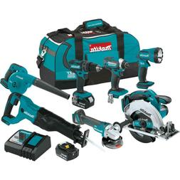 Makita Cordless 7-Piece Tool Combo Kit Grinder Blower Saw Dr