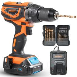 "VonHaus Cordless Drill Driver 1/2""with Hammer Drill, Battery"
