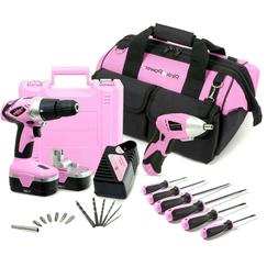 Pink Power 6 Piece Screwdriver Set w Tool Bag 3 Phillips 3 F