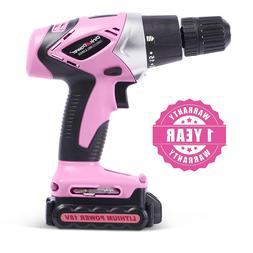 Pink Power 18V 18 Volt Cordless Lithium Ion Drill Kit for Wo