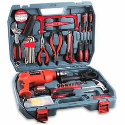 Hi-Spec Complete 130pc 110V 300W Hammer Power Drill Hand Too