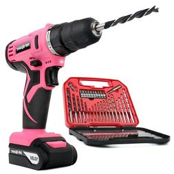 Hi-Spec Pink 10.8V Cordless Drill Driver with 1500 mAh Lithi