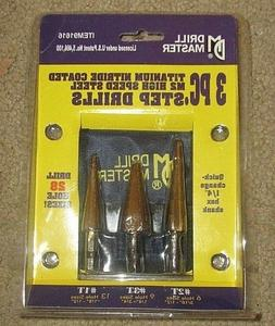 Drill Master Item 91616 3 PC Titanium Nitrate Coated M2 Step