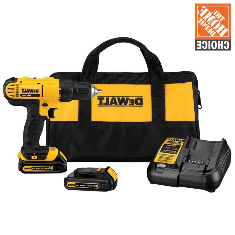 20-Volt MAX Lithium-Ion Cordless 1/2 in. Drill/Driver Kit wi