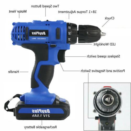 21-Volt drill Electric Cordless Driver with & Battery