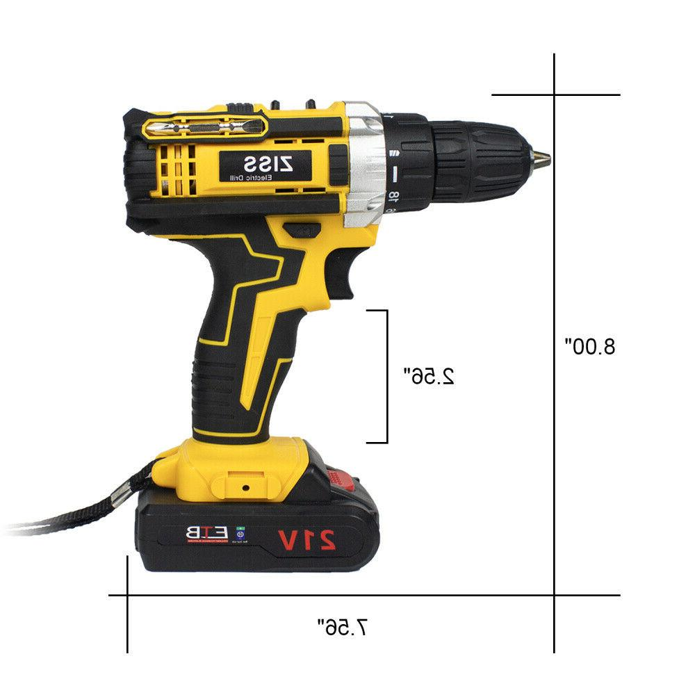 21V Cordless Screwdriver Drill Driver Kit+Battery&Charger