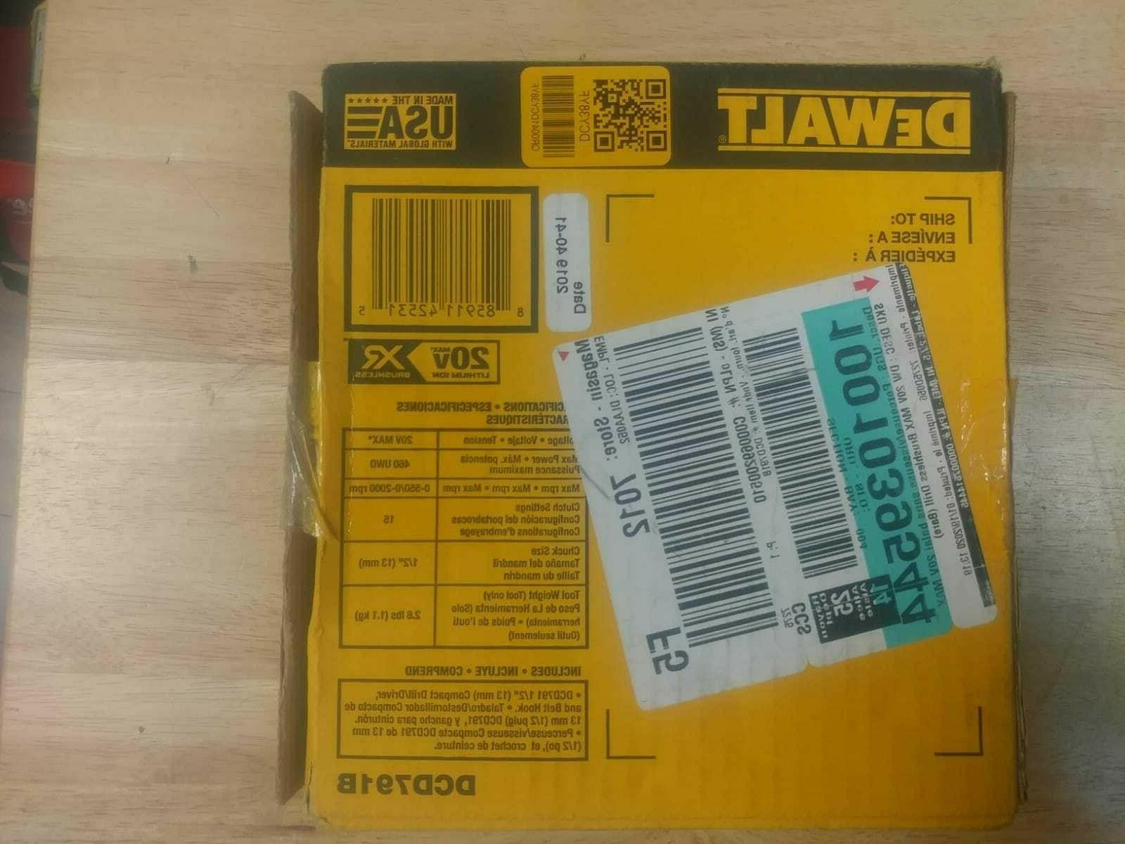 DeWALT MAX XR Li-Ion Drill/Driver TOOL ONLY NEW