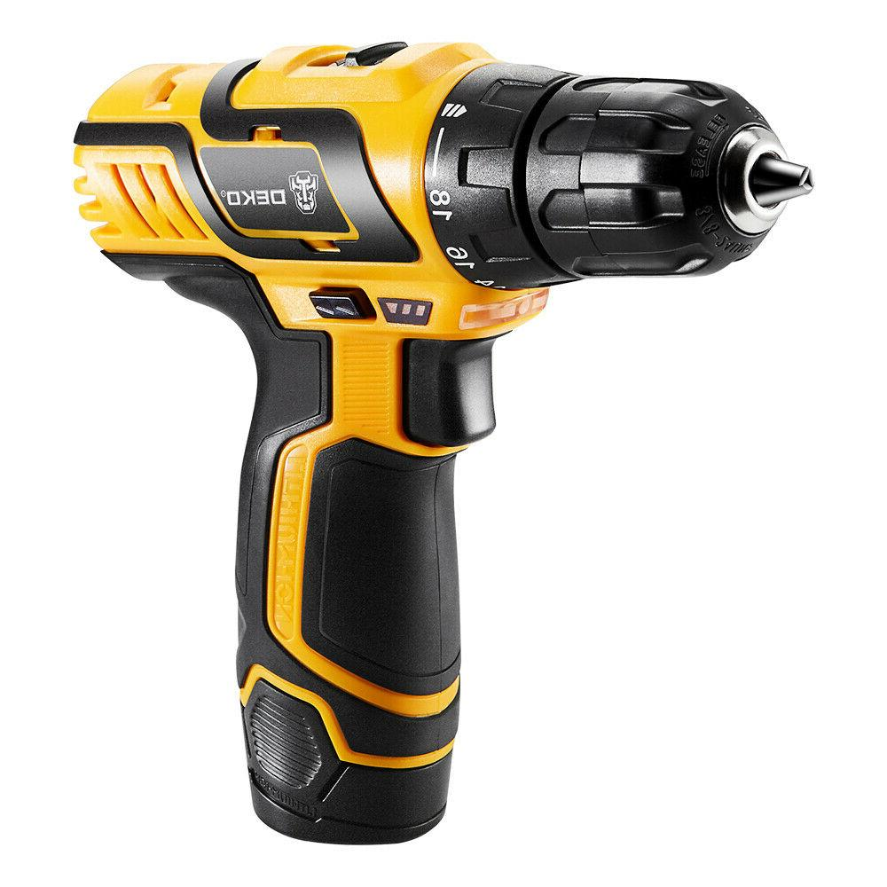 DEKO 10.8V DC Household Lithium-Ion Battery Cordless Drill D