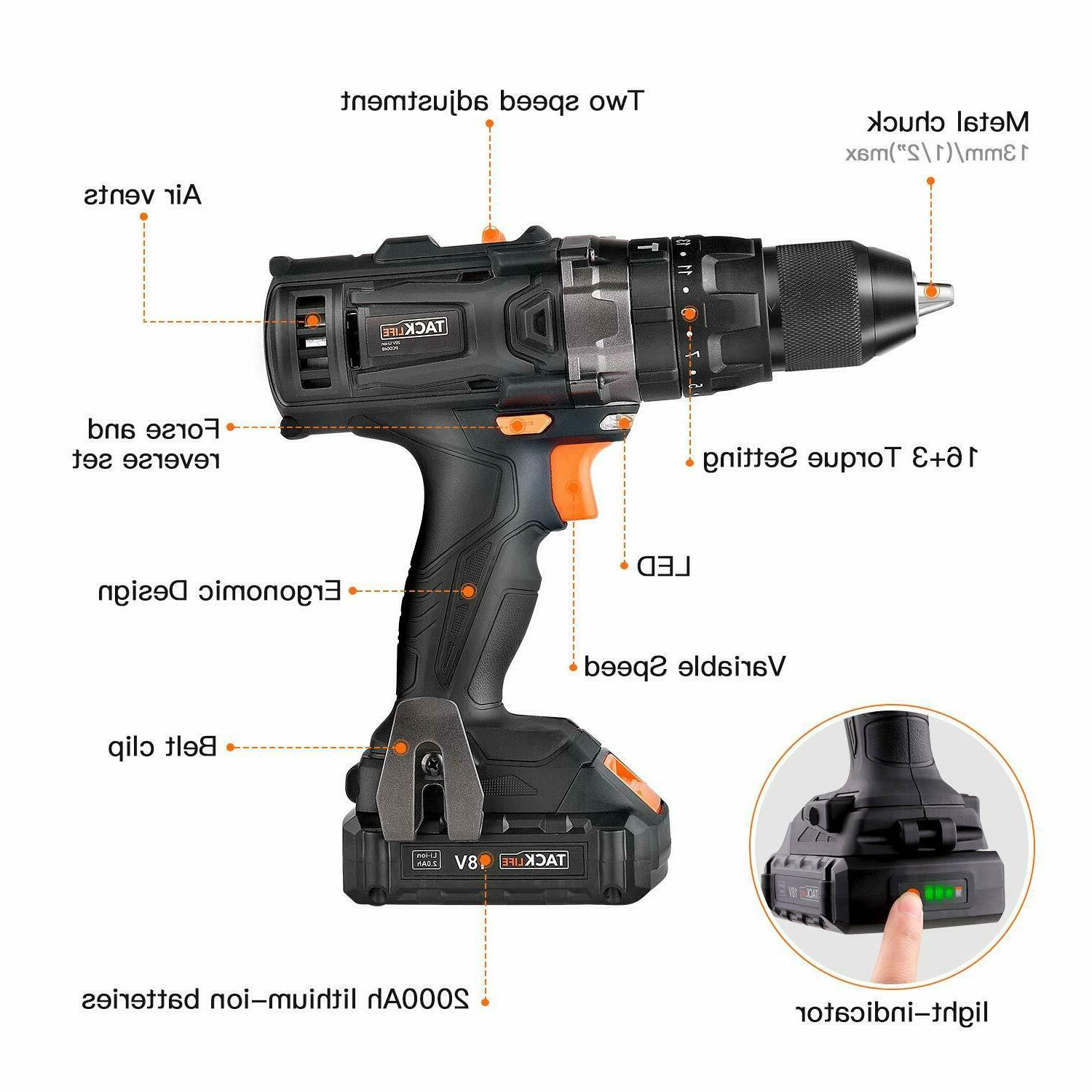 Drill, Drill Driver Set Auto-Lock with Action