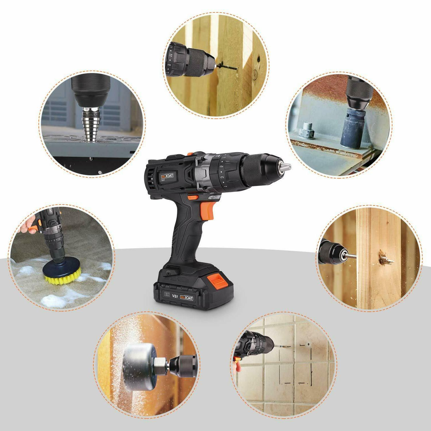 """Drill, 20V 1/2"""" Cordless Drill Set with"""