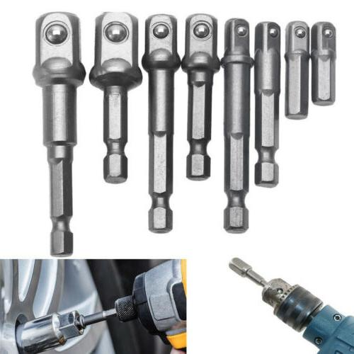 Set of 8 Socket Adapter to Power Drill Cordless Impact Drive