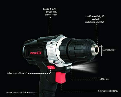 Eisen EI009 Impact Drill 2-Speed 21+1 Position Clutch LED and Charger & Piece Drill and Screwdriver Bit Compact