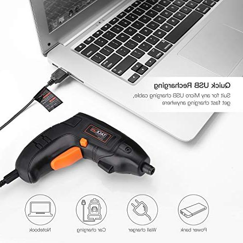 Electric Cordless Screwdriver Rechargeable Li-on Battery with Pcs Bonus Screw for Home Fit for and Experienced, Light-SDP60DC