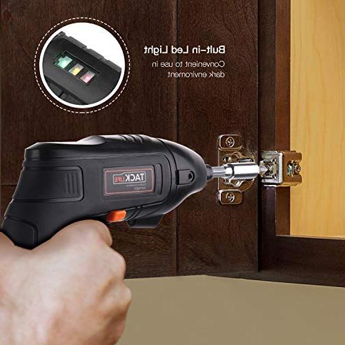 Electric Screwdriver, Tacklife Cordless Screwdriver Li-on Pcs Screw Bits for DIY and Fit for and Light-SDP60DC