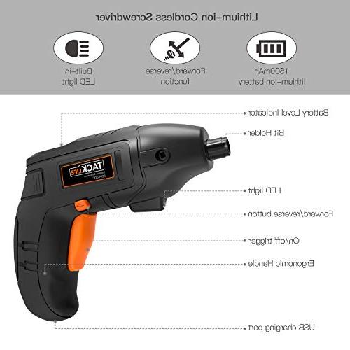 Electric Screwdriver, Tacklife Screwdriver 1500 Li-on with Pcs Bonus Screw for Fit for Newbies and Experienced, Front Light-SDP60DC