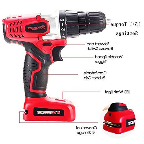 WORKSITE 8V Electric Drill 1300mA Lithium-Ion Switch, Light, Set, Magnet