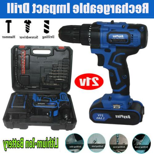 electric cordless impact hammer drill set driver